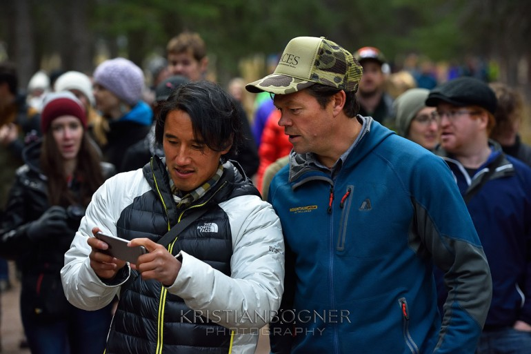 During the National Geographic photo walk at the Banff Film and Book Festival Jimmy Chin shows Pete McBride some of his new images.