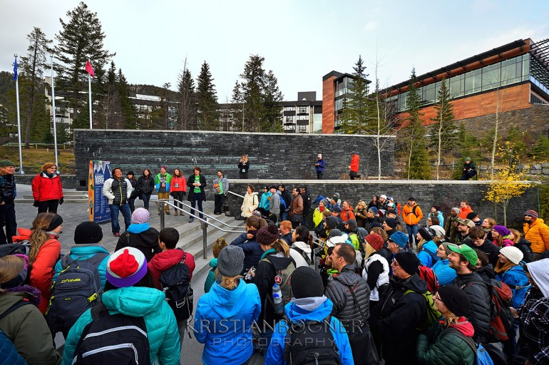 Jimmy Chin giving a few words to the large group of photographers joining him on the National Geographic photo walk from the Banff Centre to the Bow Falls as part of the amazing events taking place at the Banff Mountain Film and Book Festival.